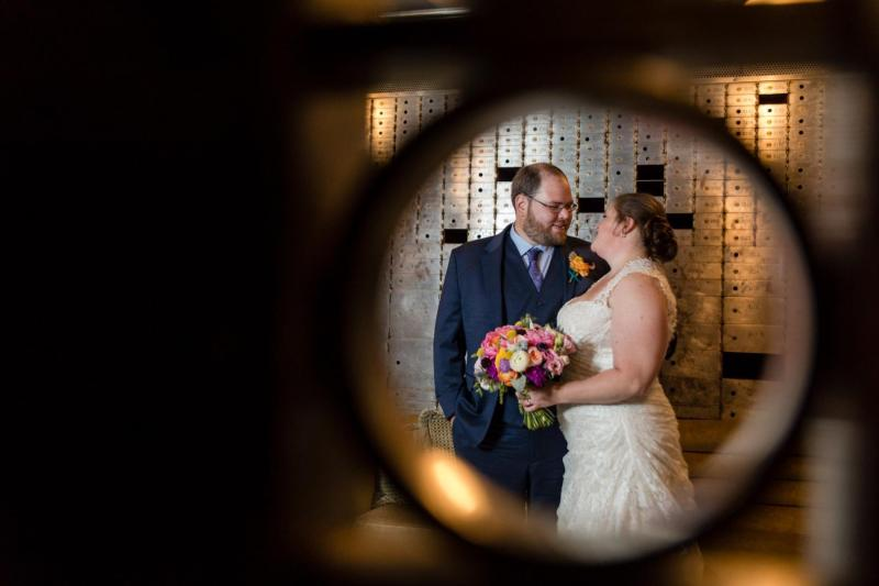 Carrie & Dave's first look at 21c Hotel in Durham, NC - Photo by MKM Photography