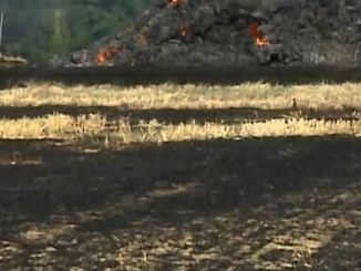Incendio campo nei pressi del centro storico a Foligno