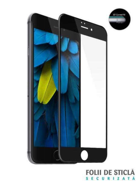 Folie curbată 5D din sticlă securizată pentru iPhone 6/6S - NEGRU