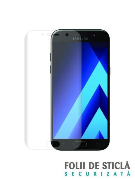 Folie curbată 3D din sticlă securizată pentru Samsung Galaxy A3 (2017) TRANSPARENT (Full cover)