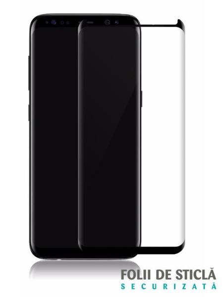 Folie curbată 3D din sticlă securizată pentru Samsung Galaxy S8+ NEGRU - FULL GLUE (Case-compatible)