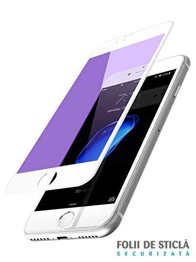 Folie ANTI BLUE-RAY curbată 5D din sticlă securizată pentru iPhone 7 Plus - ALB