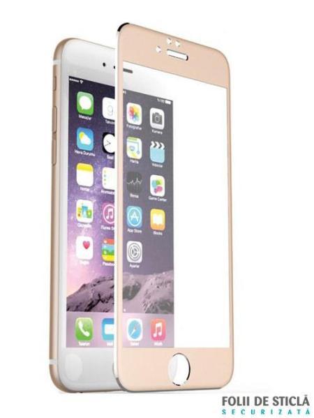 Folie curbată 4D din sticlă securizată pentru iPhone 7 - GOLD