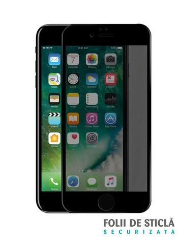 Folie PRIVACY curbată 5D din sticlă securizată pentru iPhone 7 Plus / 8 Plus - NEGRU
