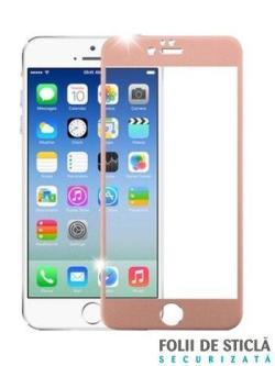 Folie curbată 4D din sticlă securizată pentru iPhone 7 - ROSE GOLD