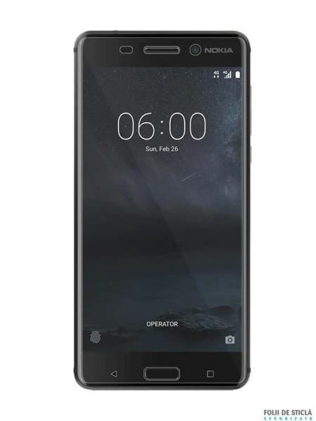 Folie curbată 3D din sticlă securizată pentru Nokia 5 TRANSPARENT (full cover)