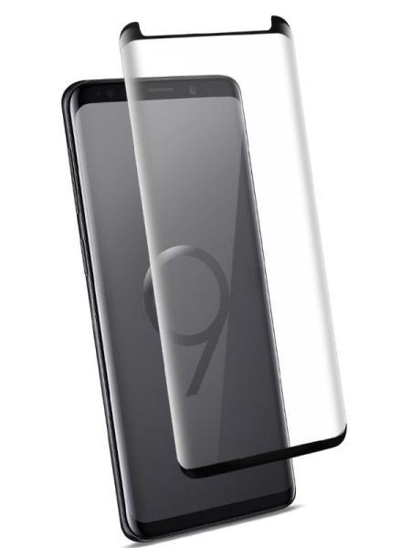 Folie curbată 3D din sticlă securizată pentru Samsung Galaxy S9+ NEGRU - FULL GLUE (Case-compatible)