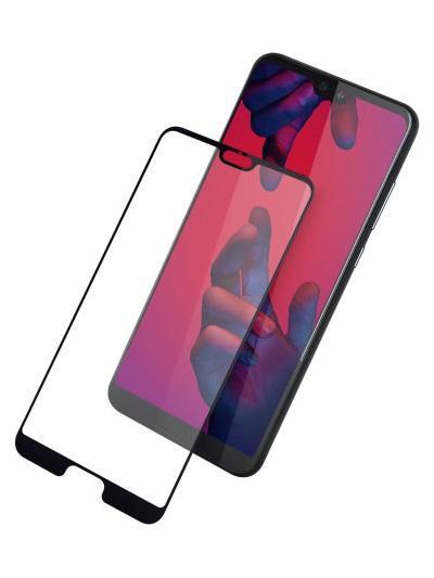 Folie curbată 5D din sticlă securizată pentru Huawei P20 NEGRU - Full glue