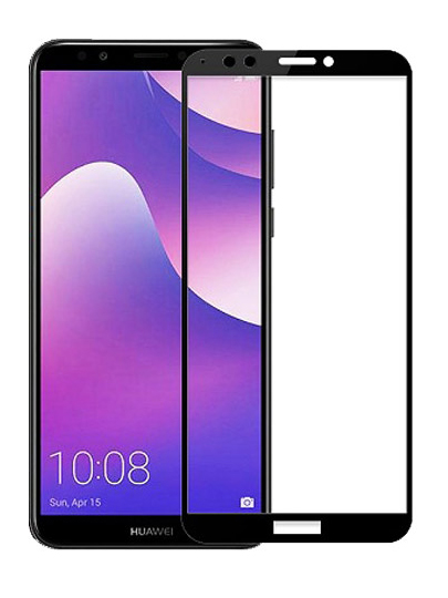 Folie ușor curbată 5D din sticlă securizată pentru Huawei Y7 / Y7 Prime (2018) NEGRU - Full glue