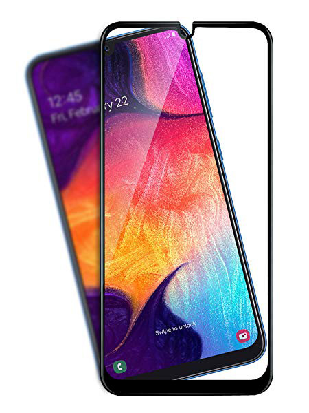 Folie ușor curbată 5D din sticlă securizată pentru Samsung Galaxy A20 / A30 / A50 NEGRU - Full glue