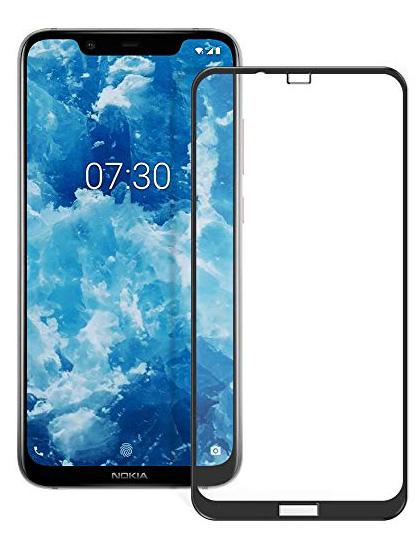 Folie curbată 5D din sticlă securizată pentru Nokia 8.1 (X7) NEGRU - Full glue