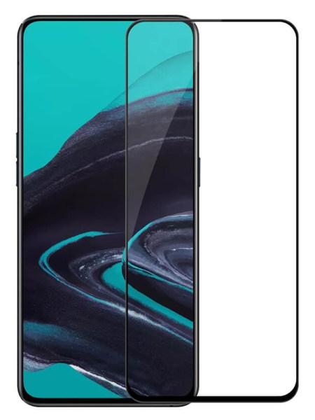Folie ușor curbată 5D din sticlă securizată pentru Oppo Reno 2 NEGRU - Full glue