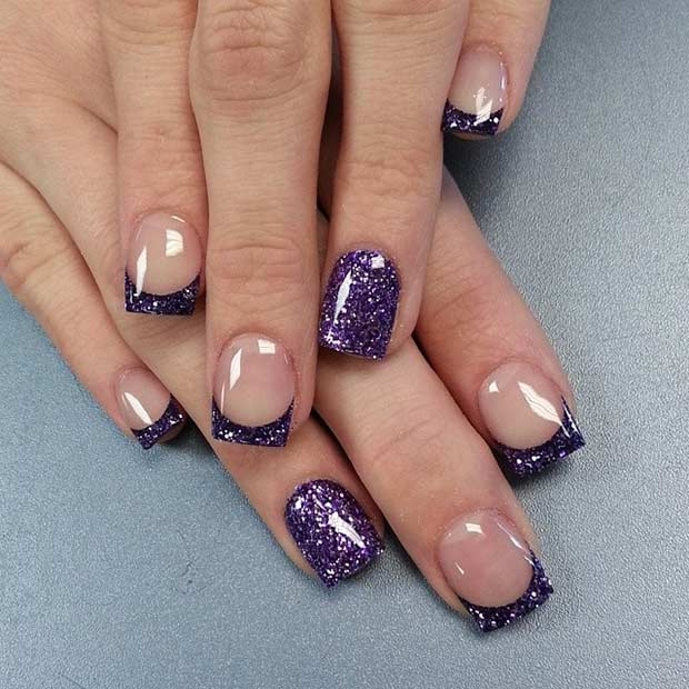 14 Sparkly Purple French Tip Nail Design