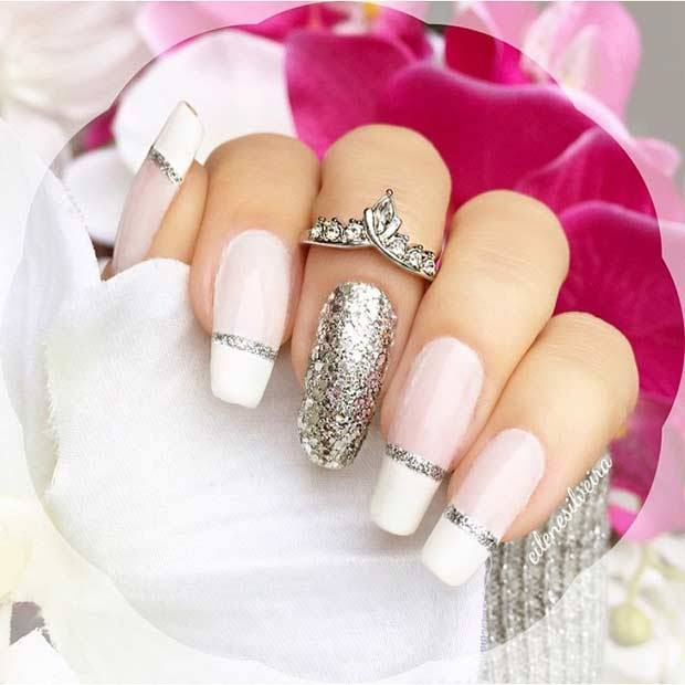 25 Long White And Silver Glitter French Tip Nails