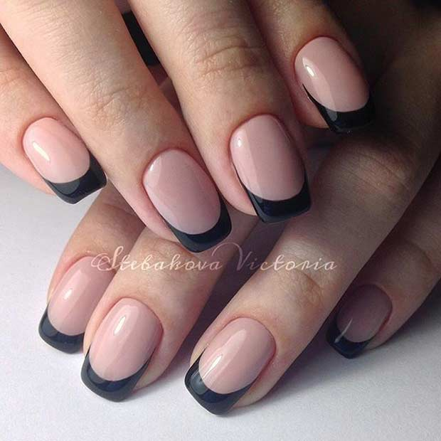 26 Black French Tip Nails