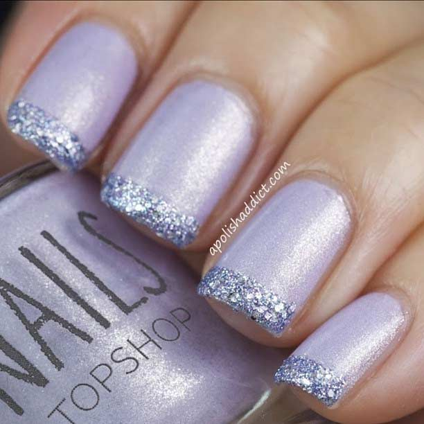 6 Glitter French Tip Nails