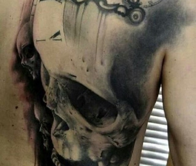 Scary Skull Back Tattoo For Men
