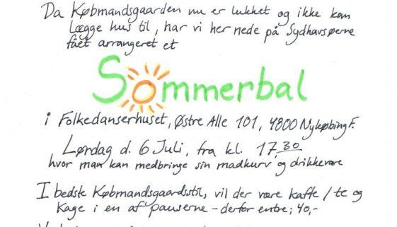 INVITATION TIL BAL D. 6. JULI