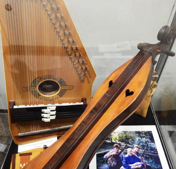 One of Jean Ritchie's many dulcimers and her 'Wildwood Flower' autoharp