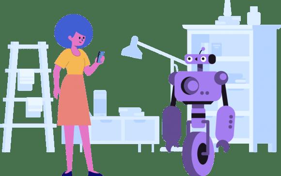 Girl on phone and robot