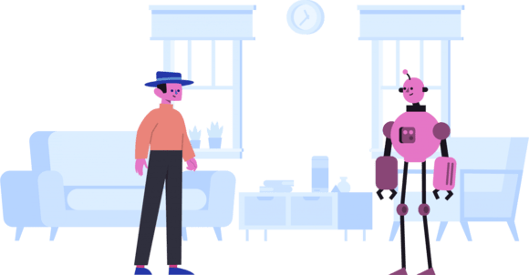 Man with blue hat and pink robot