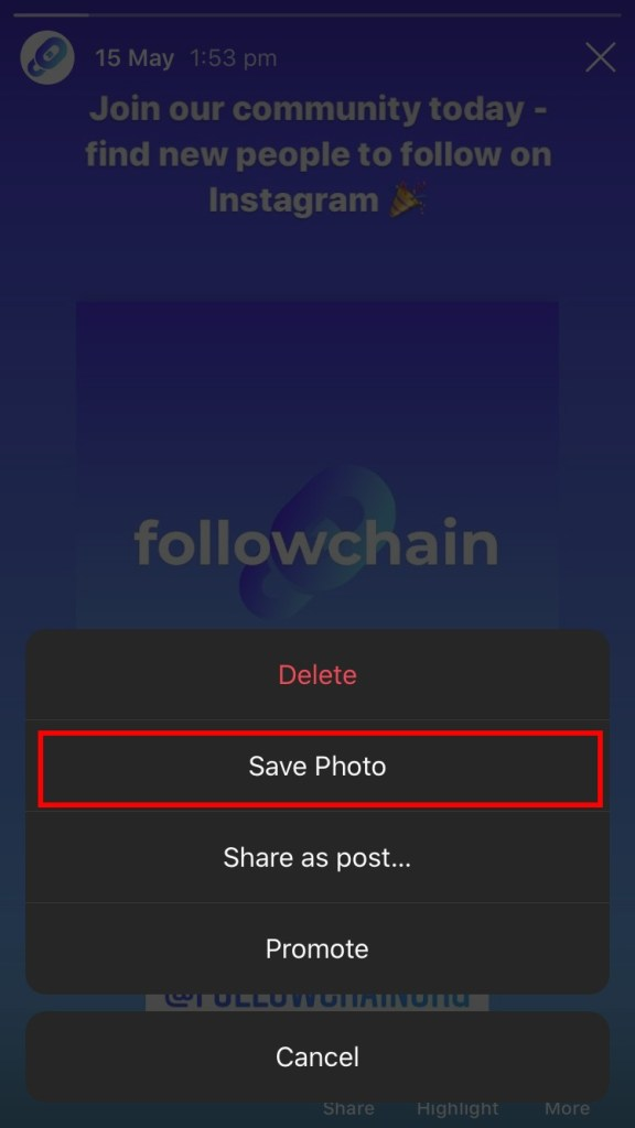 Save Instagram photo to gallery
