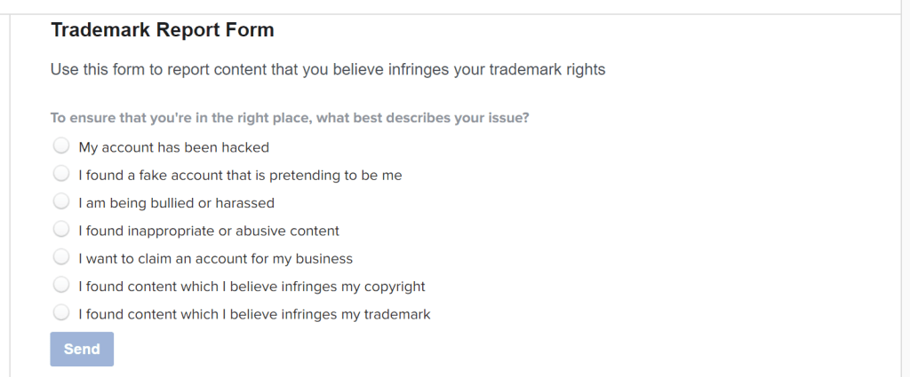 Instagram Trademark Report Form