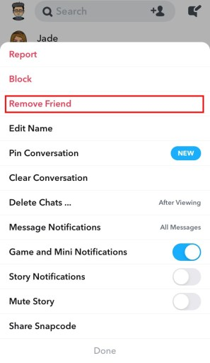 Snapchat how to remove friend