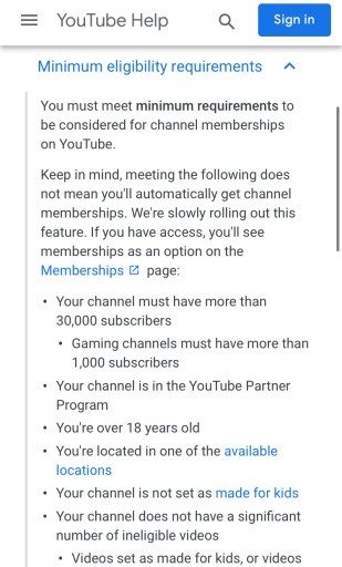 Requirements for YouTube channel memberships