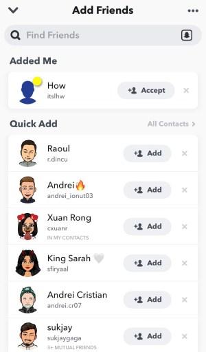 Snapchat accept friend request