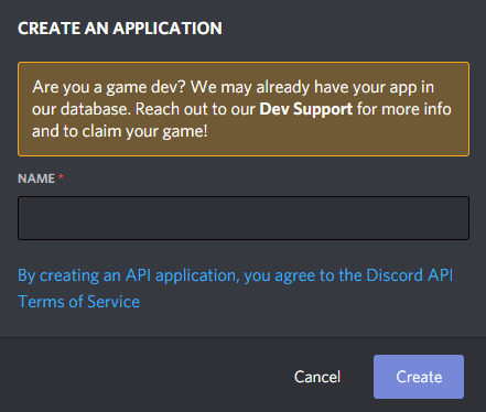Create an application on Discord