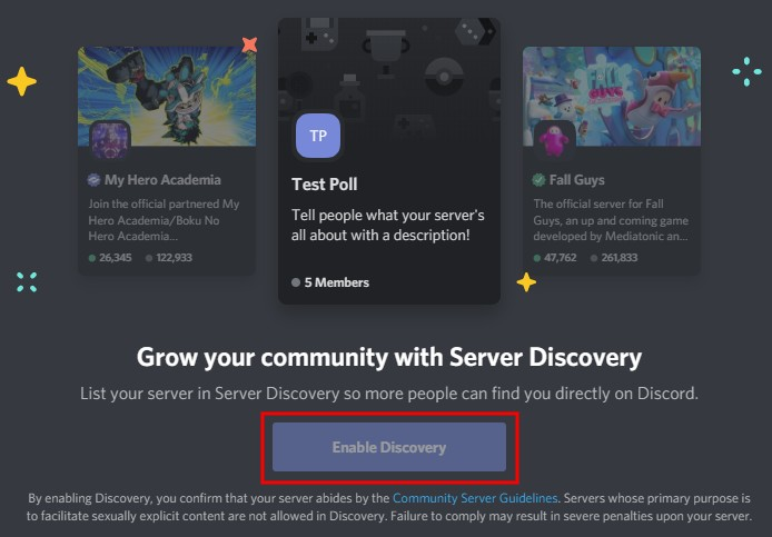 Discord enable discovery
