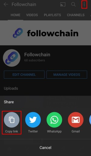 Copy YouTube channel link