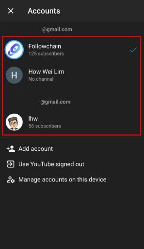 Switch YouTube accounts