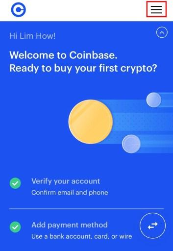 Coinbase menu icon