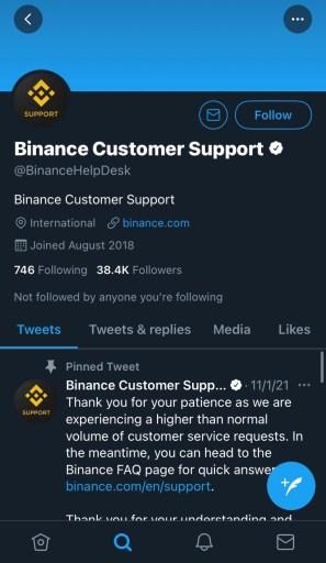 Binance support Twitter