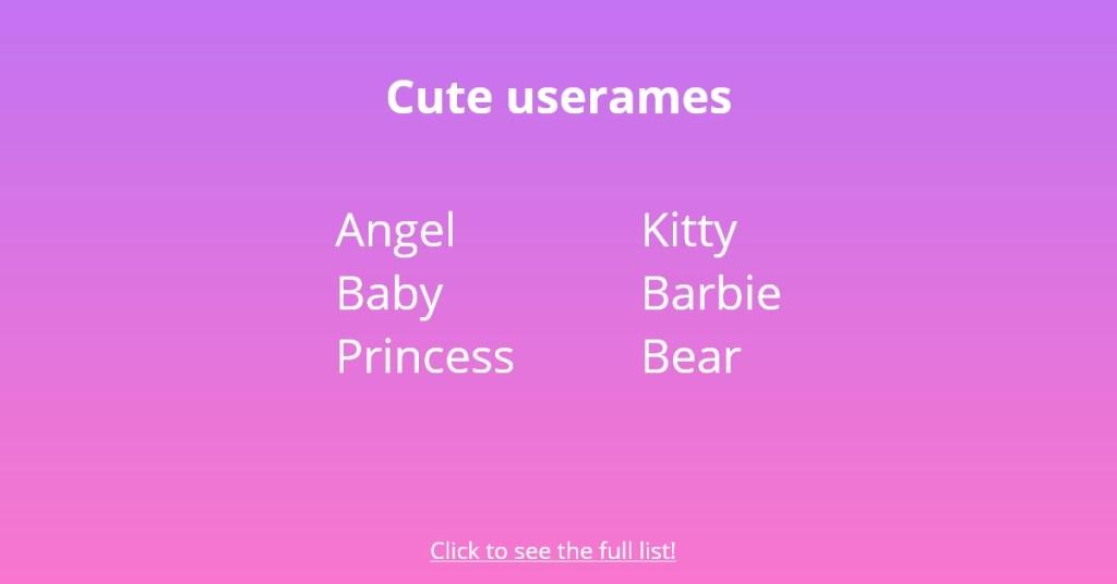 cute usernames
