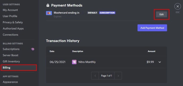 How to edit payment method on Discord
