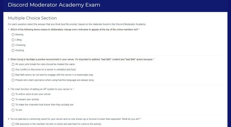 Discord Moderator Academy Exam