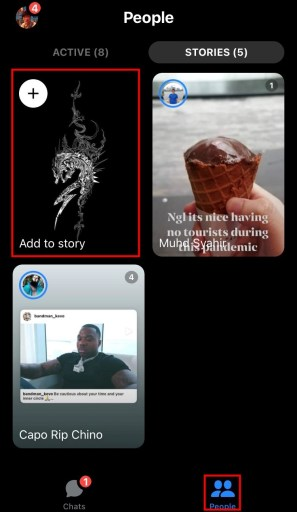 Facebook messenger add to story