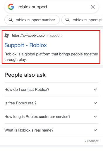 Roblox support