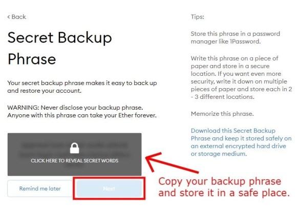MetaMask Secret Backup Phrase