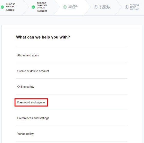 Yahoo password and sign in issue