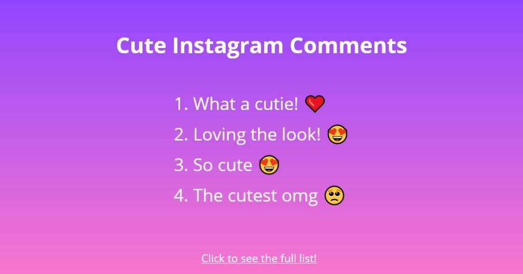 Cute Instagram Comments