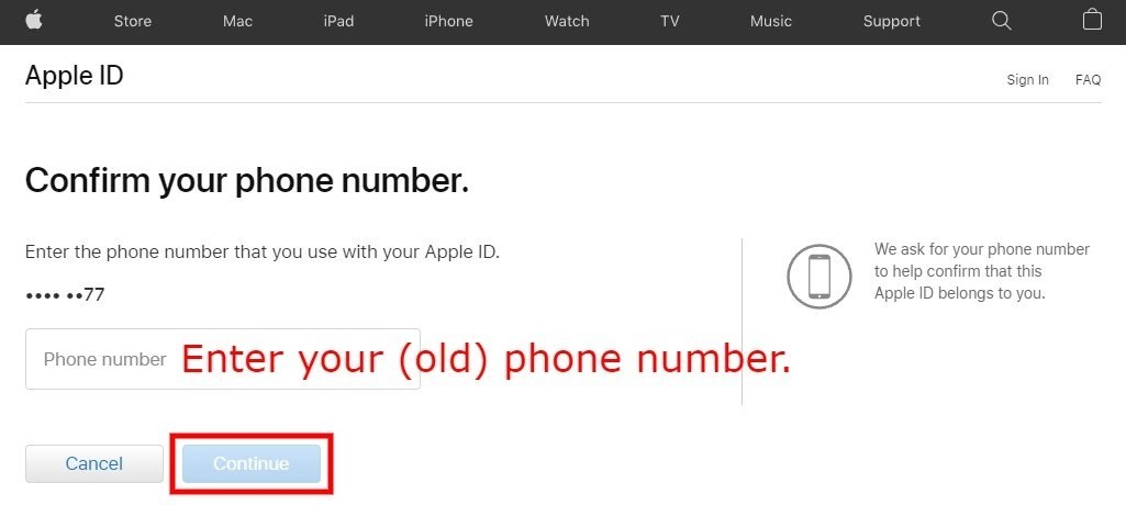 Confirm your phone number iForgot