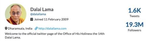 Dalai Lama Twitter profile