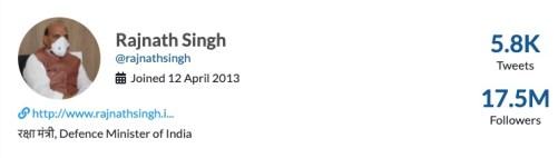 Rajnath Singh Twitter profile