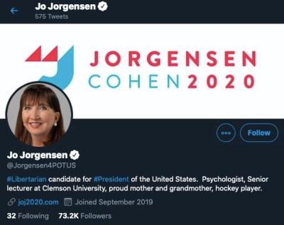 Jo Jorgensen Twitter audit