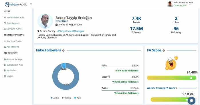 FollowerAudit Dashboard: fake followers audit tool