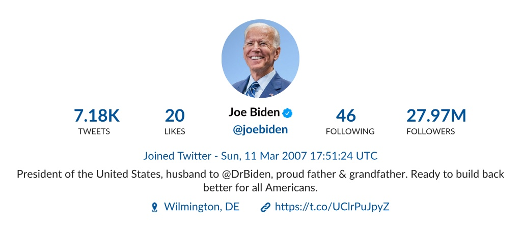 Twitter profile Joe Biden